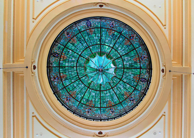 Columbus, Texas. Tiffany glass in Courthouse ceiling.