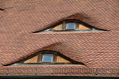 Unique windows on a Rothenburg, Germany roof.