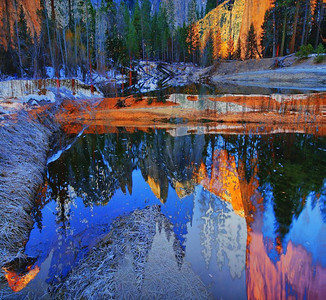 Double exposure of Yosemite mountains and Merced River, Feb 2010. This was a mistake in HDR processing, but it was colorful and kinda fun, so I kept it. HDR programs process with very high saturation which is normally the first correction I make, but I just left it that way in this case.