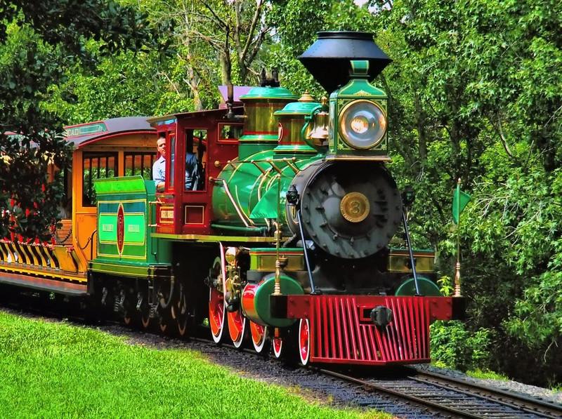 Disney Train approaches Space Mountain in Orlando, Fla.