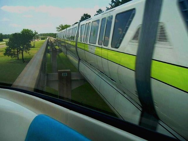 The Monorails pass as our ship heads back to Magic Kingdom from EPCOT Center.