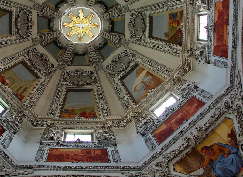 Closeup detail of the ceiling of Salzburg Cathedral.