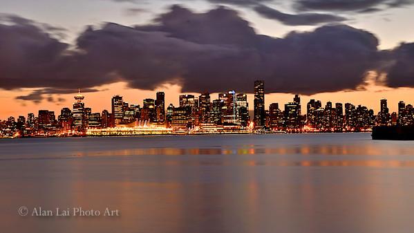 Vancouver skyline at dusk.