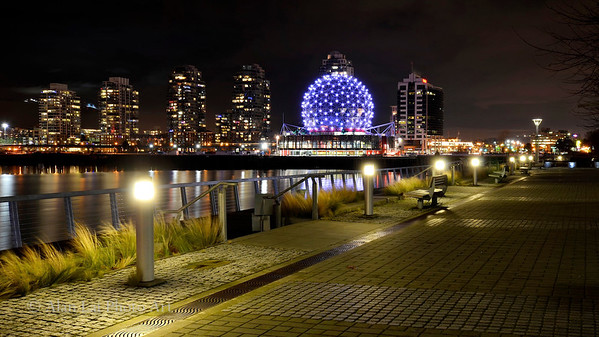 A view of the Science World from Olympic Village.