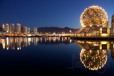 Science World and Vancouver skyline at False Creek, Vancouver, BC