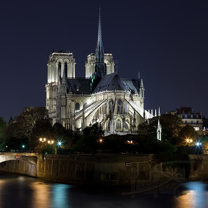 Notre Dame Cathedral at night. Paris.