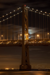 Bay Bridge in the moonlight. San Francisco, CA