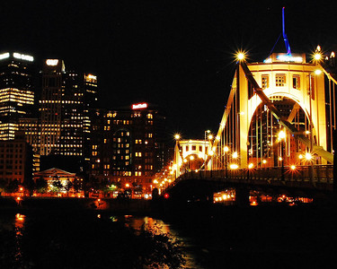Pittsburgh's Roberto Clemente bridge at night - color