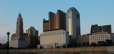 Downtown Columbus - looking east at sunset