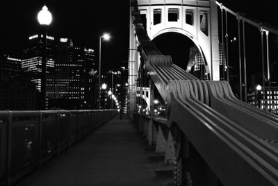 Roberto Clemente bridge - night