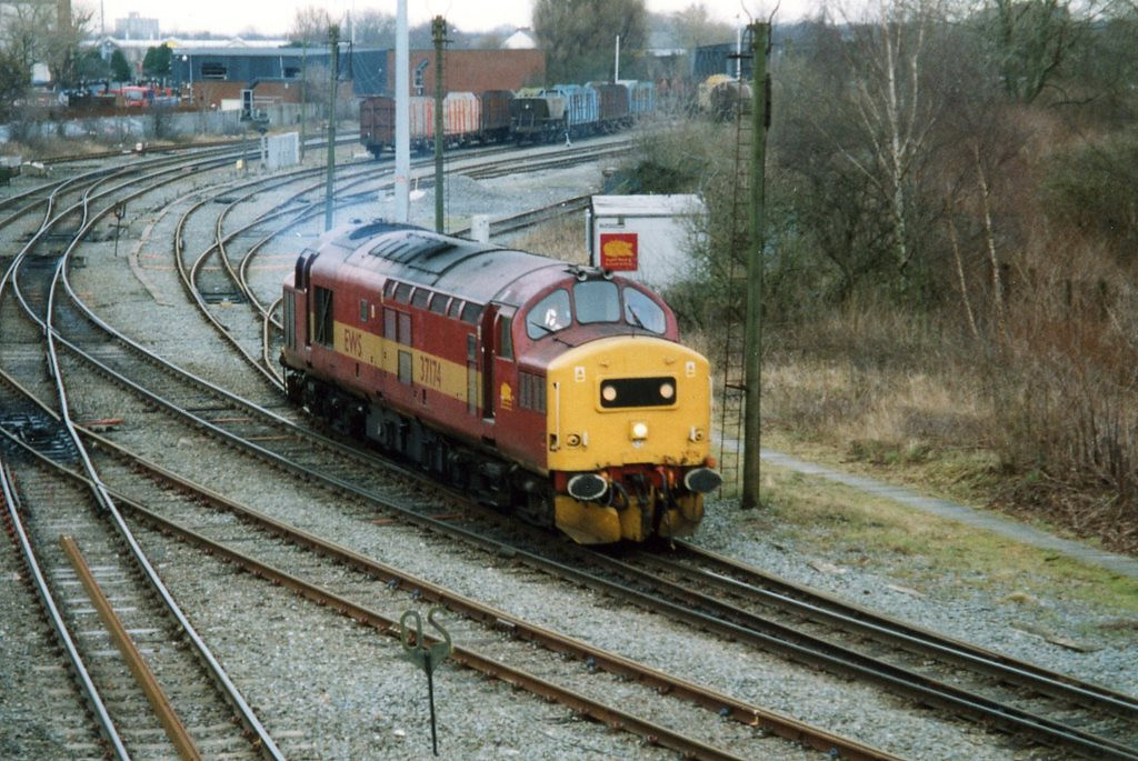 37174 at Latchford Sidings about to work light engine to Halewood. February 2004.