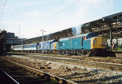 37029 and 37379 at Crewe. May 2000.