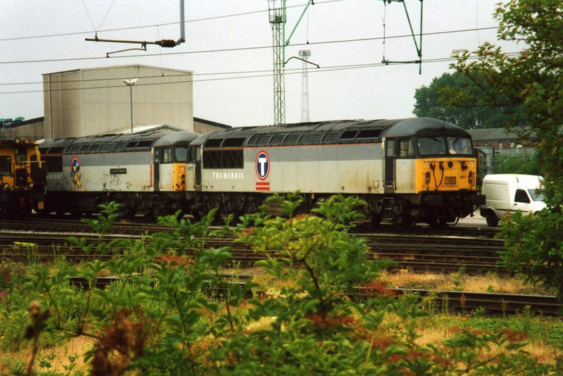 56007 and 56073, Crewe. July 2001.