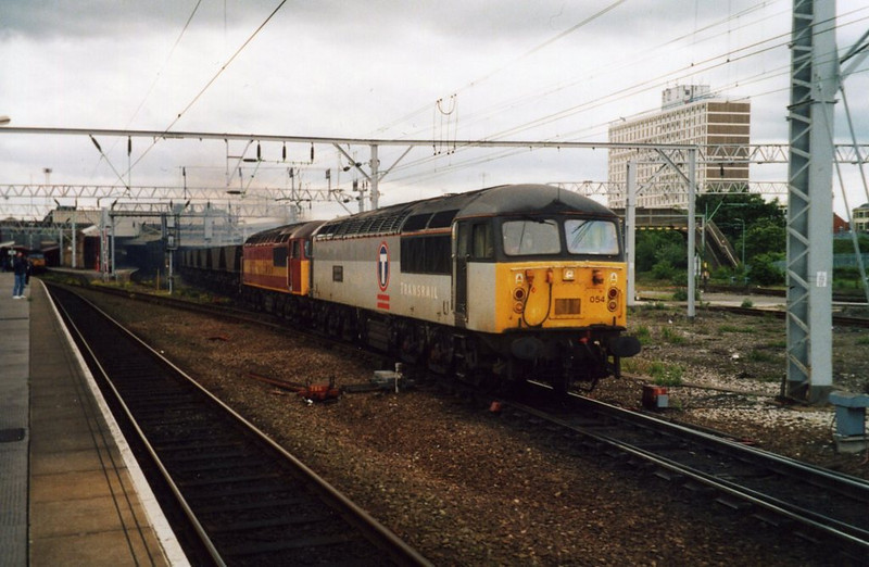 56054 and 56051, Crewe. June 2001.
