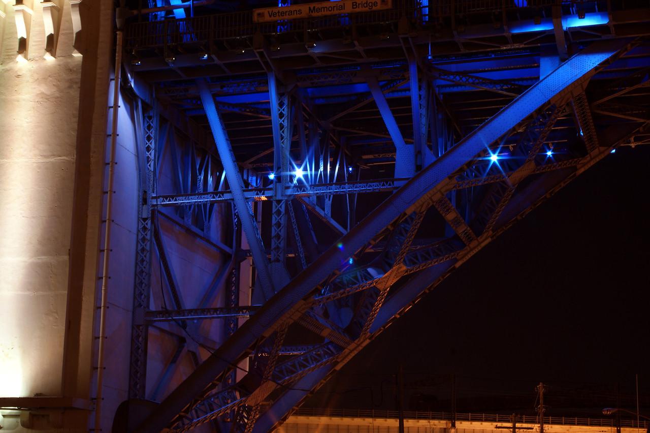 Photo By Robert Bodnar.....................................Steel underbody of Veterans Memorial Bridge in Blue