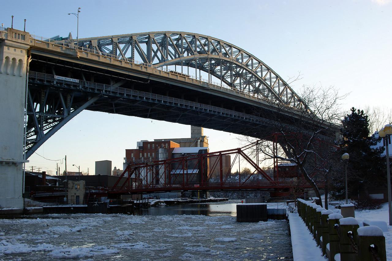 Photo By Robert Bodnar................................Veterans Memorial Bridge with Swing Bridge Underneath