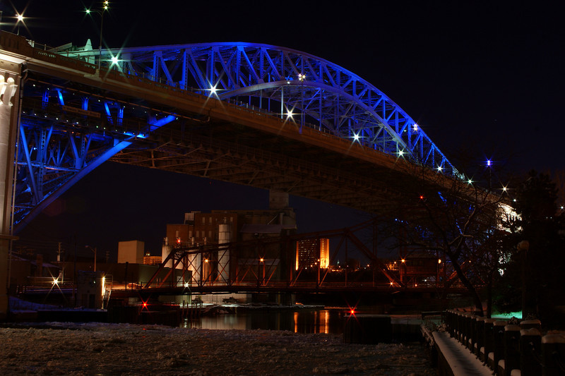 Photo By Robert  Bodnar.........................Veterans Memorial Bridge with Swing Bridge Underneath at Night
