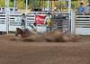 Horse down, cowboy stays put.