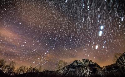 Star Trails over Seneca Rocks