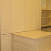 Master closet peninusla & bench in antique white melamine