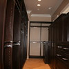 Dark wood colored melamine closet