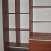 Wood color melamine shoe shelves & sweater cubbies