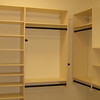 8' wall hung melamine with oil rub bronze poles, belt & tie rack