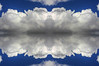 Cloud photography using Quadrilateral Mirror Symmetry (or Quadrilateral Reflection Symmetry) with two axis of symmetry (lines of symmetry). Images were preprocessed with Photomatix.