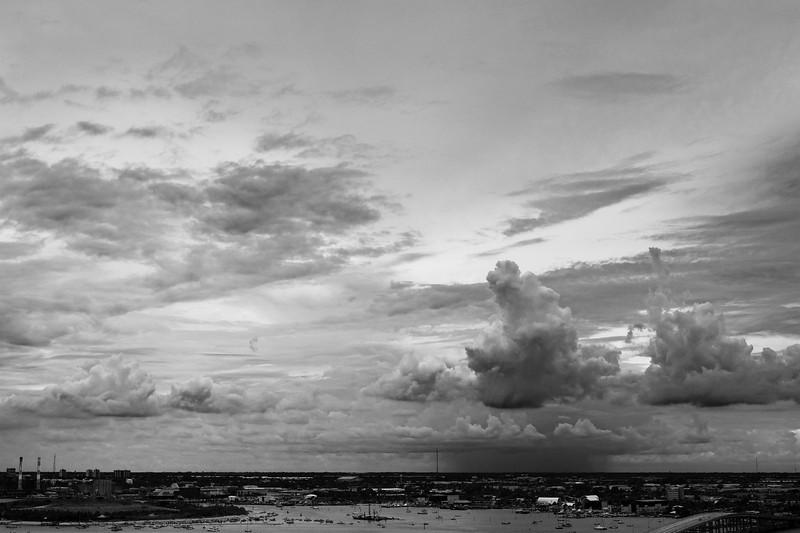 Rain looking west over Lake Worth and Peanut Island, Florida