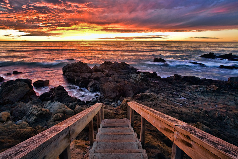 Stairs to the Beach at Sunset - Cambria, California