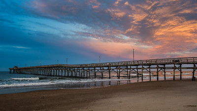 Sunset over Oak Island Fishing Pier