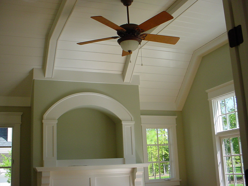 MDF Beams and v-groove ceiling paneling