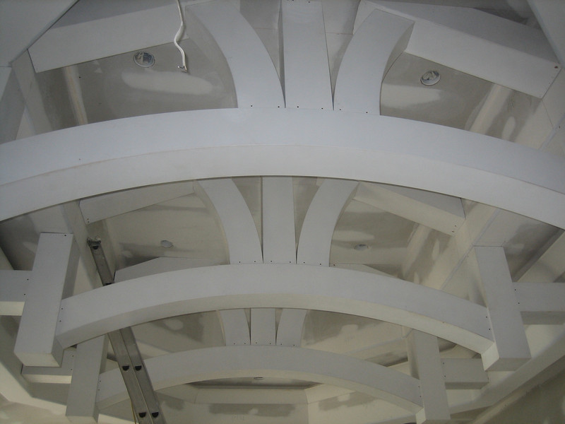 Close-up of Interior MDF Radius Beams primed and installed
