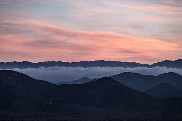 Dawn breaking over the Sierra de la Laguna mountains.