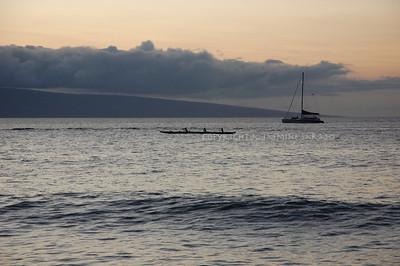 Outrigger across Lanai at Sunset II, Maui