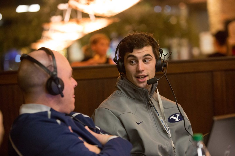 "13-14mBKB Coaches Show 079  Debut of ""BYU Basketball with Dave Rose""  Talk show with Coach Dave Rose and Greg Wrubell at Malawi's Pizza in the Shops at Riverwoods. Also featuring Matt Carlino  December 4, 2013  Photo by Todd Wakefield/BYU  Copyright BYU Photo 2013 All Rights Reserved photo@byu.edu  photo.byu.edu"
