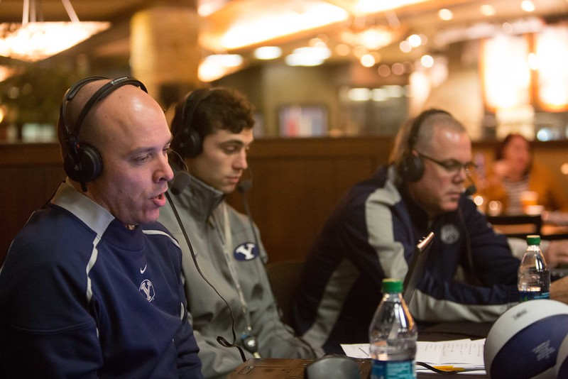 "13-14mBKB Coaches Show 103  Debut of ""BYU Basketball with Dave Rose""  Talk show with Coach Dave Rose and Greg Wrubell at Malawi's Pizza in the Shops at Riverwoods. Also featuring Matt Carlino  December 4, 2013  Photo by Todd Wakefield/BYU  Copyright BYU Photo 2013 All Rights Reserved photo@byu.edu  photo.byu.edu"