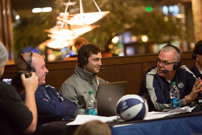 "13-14mBKB Coaches Show 073  Debut of ""BYU Basketball with Dave Rose""  Talk show with Coach Dave Rose and Greg Wrubell at Malawi's Pizza in the Shops at Riverwoods. Also featuring Matt Carlino  December 4, 2013  Photo by Todd Wakefield/BYU  Copyright BYU Photo 2013 All Rights Reserved photo@byu.edu  photo.byu.edu"