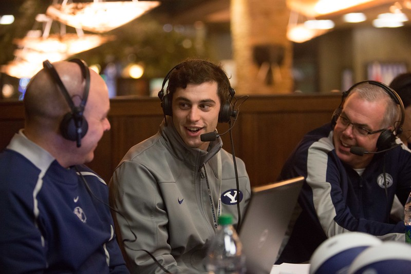 "13-14mBKB Coaches Show 093  Debut of ""BYU Basketball with Dave Rose""  Talk show with Coach Dave Rose and Greg Wrubell at Malawi's Pizza in the Shops at Riverwoods. Also featuring Matt Carlino  December 4, 2013  Photo by Todd Wakefield/BYU  Copyright BYU Photo 2013 All Rights Reserved photo@byu.edu  photo.byu.edu"