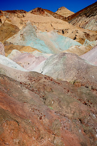 Artist's Palette, Death Valley. The Black Mountains bordering Death Valley are characterized by colorful mineral deposits.