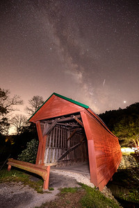 Milky Way over covered bridge