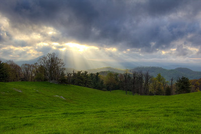 Crepuscular Rays in front of Cahas Mountain on the Blue Ridge Parkway, VA