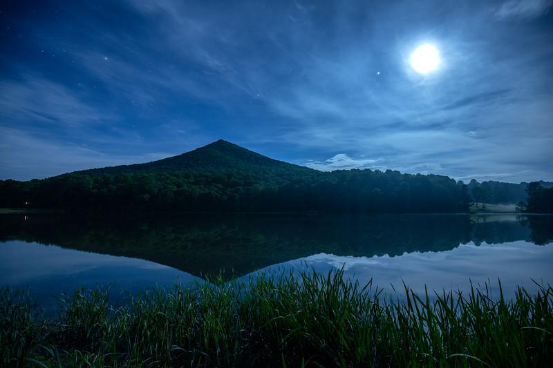 Peaks Of Otter under moonlight