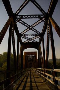 Hiwasse Bridge at night. New River Trail, VA