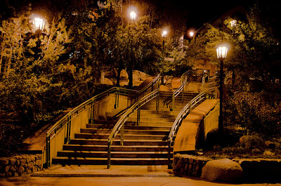Stairs in Aspen Village at night