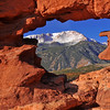Pikes Peak through window rock at Siamese Twins Garden of the Gods