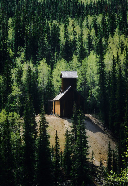 An old mine on Highway 550.<br /> Photo © Cindy Clark