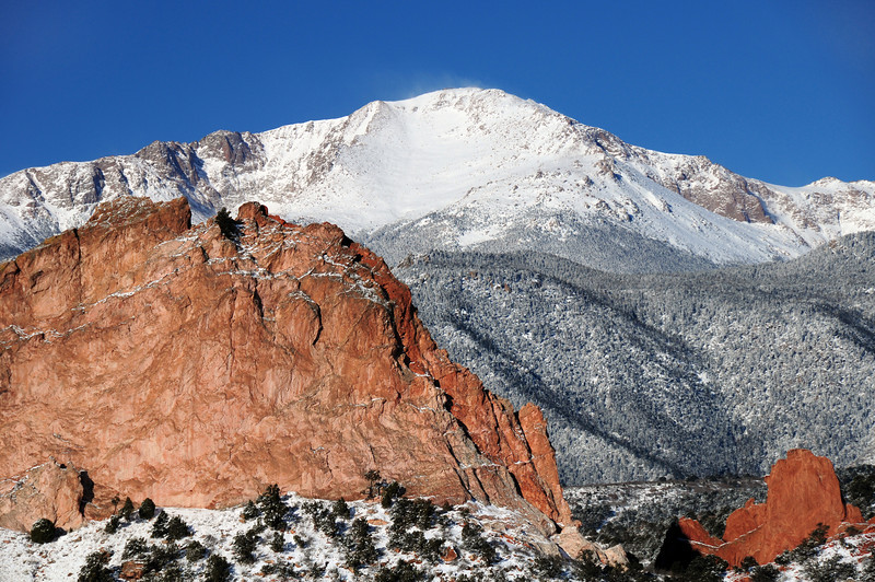 Snow capped Pikes Peak at the Garden of the Gods