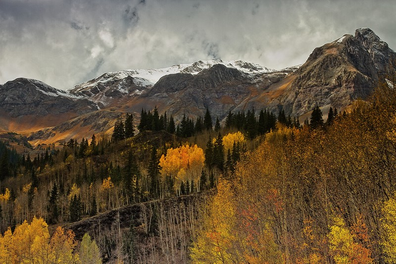 Fall color on Highway 550, not far from Durango.<br /> Photo © Cindy Clark