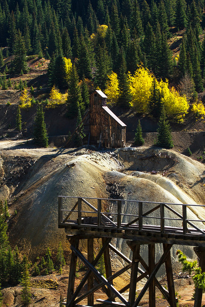 An old mine speaks of the past history of this area along Highway 550 from Durango to Ouray.<br /> Photo © Cindy Clark